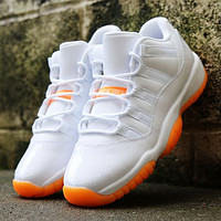 Bunchsun Air Jordan 11 Classic Women Men Casual Sneakers Sport Basketball Shoes White&Orange