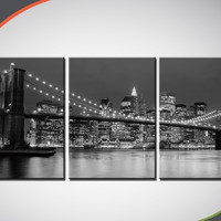 Cheap 3 Piece Hot Sell Modern wall Painting  Black-and-white photo New York Brooklyn bridge Home Decorative Art Picture Paint
