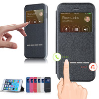 Leather Flip Back Magnetic Sliding  Answer Calls Smart Window View Cover Case For Apple iPhone 5s SE 6 6s 6 Plus 6s Plus Samsung S7 & S7 Edge