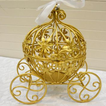 Zakka grocery European iron golden pumpkin car wedding props halloween Cinderella party decoration Home Furnishing ornaments