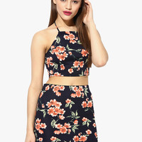 Floral Print Two Piece Dress