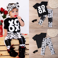 2PCS Fashion Kids Baby Girls Summer OX Tops T-shirt Pants Outfits Clothing 0-5Y