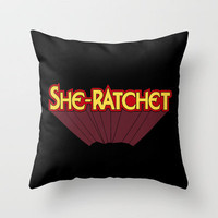 She-Ratchet Vintage Superheroine Typography Throw Pillow by Rex Lambo | Society6
