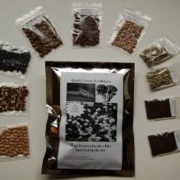 Survival Seed Kit, High Protein, 100% Heirloom/non GMO (Protein can be dangerously low in other seed kits)