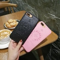 """""""Chrome Hearts"""" Unisex Fashion Embossed Cross Pattern iPhoneX/8/6S Silica Gel Soft Shell iPhone7 Plus Personality Couple Apple Phone Case"""