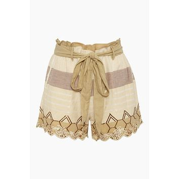 Embroidered Bow Front Cotton Shorts - Mana Beige Stripe Print