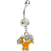 Aurora Gem Beautiful Bunch of Daisy Flowers Dangle Belly Ring | Body Candy Body Jewelry