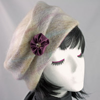 Sweater Hat in Pale Lilac Brushed Angora Wool | Pull-on Knit Pillbox | Crushable Packable Stylish