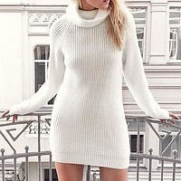 Knitted Women Dress Casual Turtle Sweater Dresses Female Elegant White Long Sleeve Knitwear Dress Vestidos