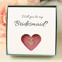 Will you be my Bridesmaid gift box, sterling silver initial necklace, personalized bridesmaids gift box, bridesmaid invite, wedding jewelry