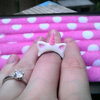 Pastel Goth, Bubblegoth, Fairy Kei kawaii Unicorn adjustable ring