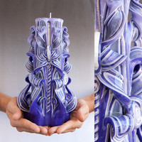 Purple candle - Carved candle - Large candle