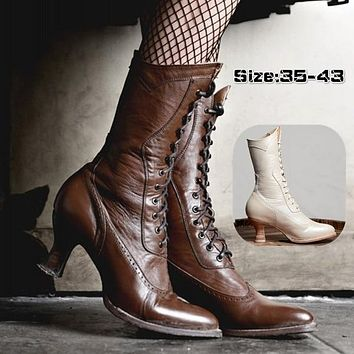 Lace Up Leather Heeled Ankle Mid Calf Boots