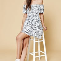 Kendall and Kylie Floral Smocked Off-The-Shoulder Dress at PacSun.com