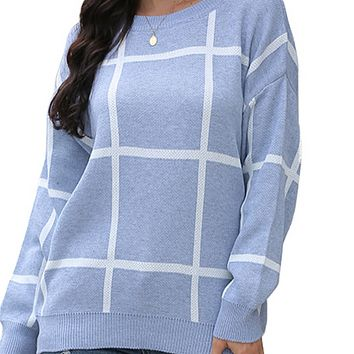 Women's hot sale pullover round neck large square loose knit sweater