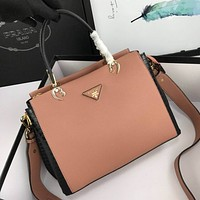 prada women leather shoulder bags satchel tote bag handbag shopping leather tote crossbody 92