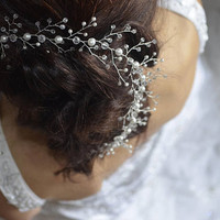 Bridal hair vine, bridal headpiece, wedding headpiece, pearl crystal headpiece, bridal hair piece, wedding hair piece, wedding hair vine