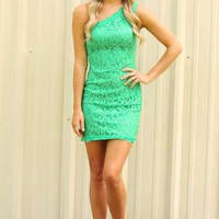 Lace Play A Game Dress: Dark Mint