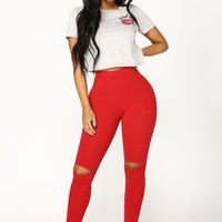 Basic Knee Slit Leggings - Burgundy