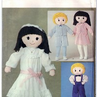 Butterick 3583 DIY Pattern Dolls 32 In Boy and Girl Vintage Sewing Craft Supply - UNCUT