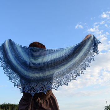 Cotton shawl in denim blue tones, soft summer scarf, womens scarf, lace shawl, shouldercover, crescent shape
