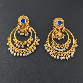 Double chandbali linked center jhumka hanging Earring