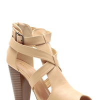Sand Faux Leather Cross Strap Chunky Booties