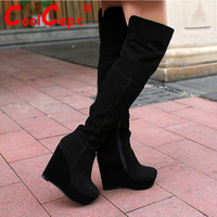 Women's Real Genuine Leather Wedge Boots
