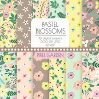 Pastel Floral Digital Paper. Peach, Mint, Yellow, Taupe Scrapbooking Paper. Hand Drawn Rose, Flower Pattern. Peach, Mint, Brown Wedding