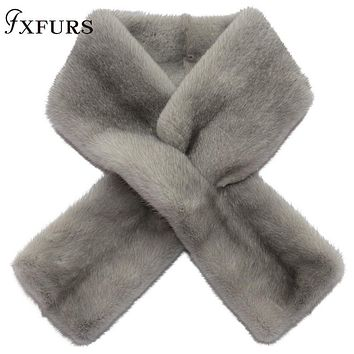 2020 Winter New Grey Mink Fur Scarves Whole Skin 100% Real Fur Collars Rings Luxury Warm Fur Mufflers Wraps Shawls Solid Soft Mink