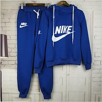 Nike Women Fashion Print Hoodie Top Sweater Pants Sweatpants Set Two-Piece Sportswear Blue