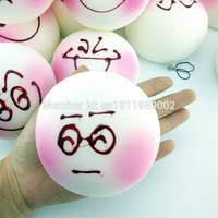 1PCS 10CM Jumbo DIY Expression Squishy Soft White Body Pink Face Bread Scented Food Toys Bun Collectibles