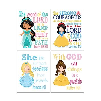 Princess Christian Nursery Decor Set of 4 Prints - Snow White, Cinderella, Belle, Jasmine with Bible Verses