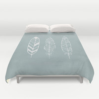 Three feathers - sea foam Duvet Cover by Juste Pixx Designs