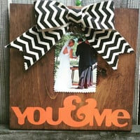 You and me picture frame wedding picture frame you choose colors rustic picture frame.