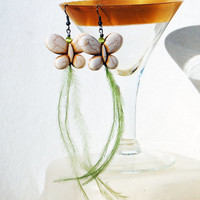 Butterfly Feather Earrings - Howlite Turquoise Butterfly in Cream with Whispy Green Feathers