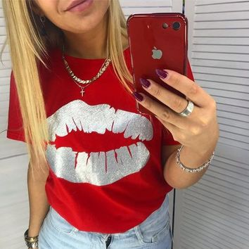 Red Lips Short Sleeve Tee