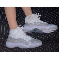 Air Jordan 11 WMNS ``Metallic Silver'' Gypsophila Men's and Women's Sneakers Shoes