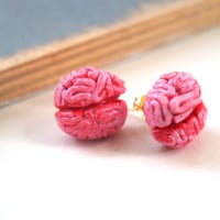 Halloween Brain Stud Earrings Polymer Clay Handmade