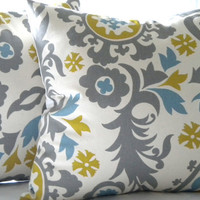Decorative Suzani Grey print accent pillow cover 18 x 18