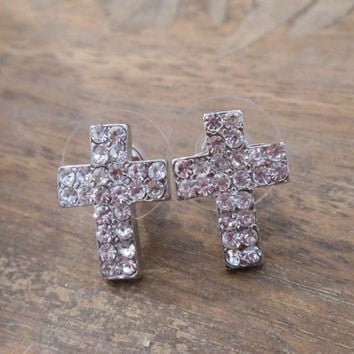 Cross Earrings - Silver Rhinestone Cross Earrings