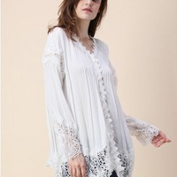 Lace Reverie Crepe Top in White