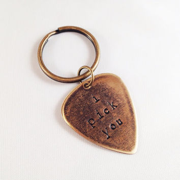 "Metal Guitar Pick ""I Pick You"" Key Ring"