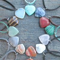 Heart Stone Necklace - Healing Crystals and Stones - Heart Pendant - Valentines Day Gift - Bridesmaids Gift - Gift for Girlfriend Wife