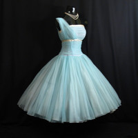Vintage 1950's 50s Fred Perlberg Turquoise Blue Silver Ruched Chiffon Circle Skirt Party Prom Wedding Dress Gown