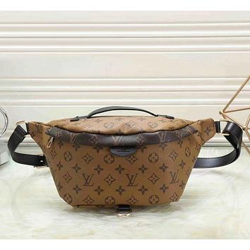 Louis Vuitton LV Trending Women Men Stylish Leather Waist Bag Satchel Single Shoulder Bag Crossbody Brown I