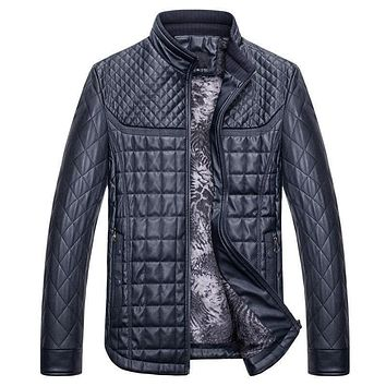 New Winter Warm Jacket Mens Bomber Casual Leather Jacket Stand Collar Slim Zipper With Pocket Long Sleeve Outwear