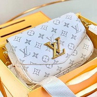 LV Fashion New Monogram Print Leather Shoulder Bag Crossbody Bag Handbag Two Piece Suit White