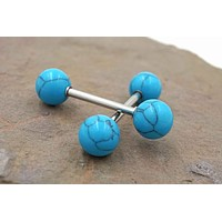 Turquoise Nipple Ring Barbell