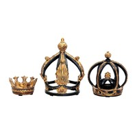 Set of 3 Crowns Black & gold leaf